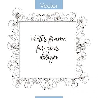 Cadre de fleurs monochrome. modèle avec place pour le texte