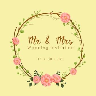 Cadre de fleurs pour faire-part de mariage