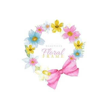Cadre de fleurs de printemps aquarelle de belles couleurs vives.