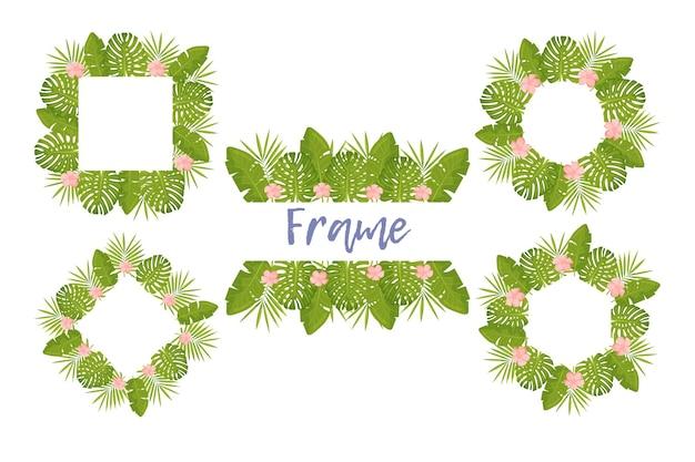 Cadre de fleurs tropicales pour la conception de votre carte avec un espace libre pour le texte