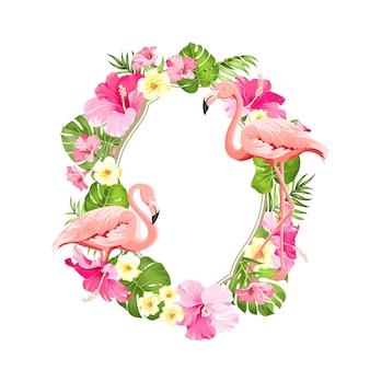 Cadre de fleurs tropicales.