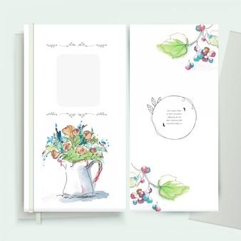 Cadre de fleurs vintage carte de voeux floral style aquarelle.