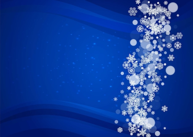 Cadre de flocons de neige sur fond bleu horizontal avec des étincelles. joyeux noel et bonne année. cadre de flocons de neige tombant pour bannières, cartes-cadeaux, invitation à une fête et offre commerciale spéciale