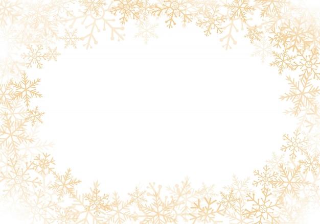 Cadre de flocons de neige or