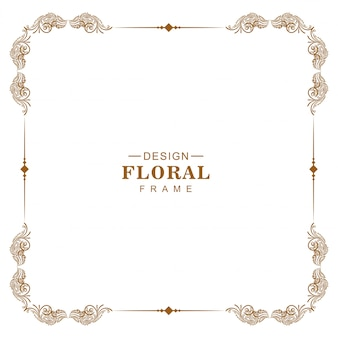 Cadre floral d'angle d'ornement baroque vintage desoign