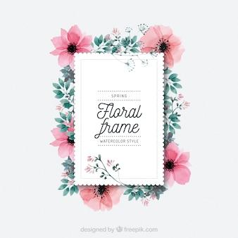 Cadre floral aquarelle au printemps