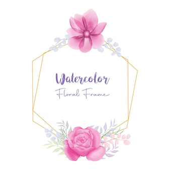 Cadre floral aquarelle belle fleur rose