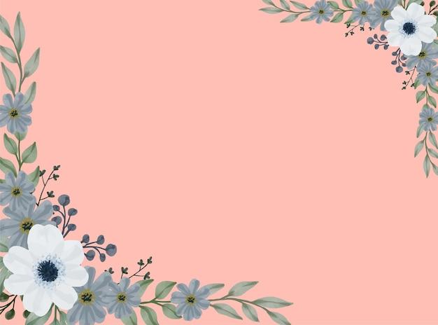 Cadre floral aquarelle de bleu et gris doux