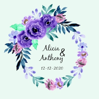 Cadre floral aquarelle bleu violet