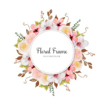 Cadre floral aquarelle coloré élégant