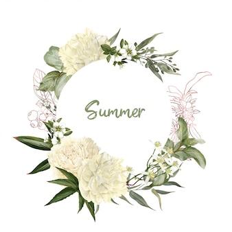 Cadre floral aquarelle décoratif, pivoines blanches et roses