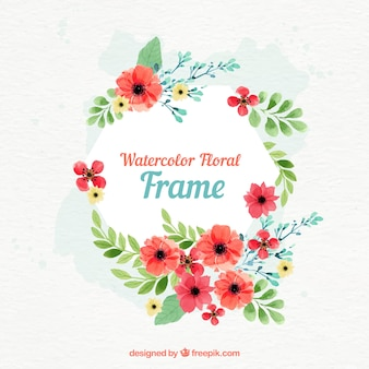 Cadre floral aquarelle avec un design circulaire