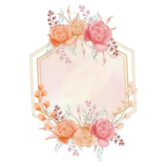 Cadre floral aquarelle avec fleur rose