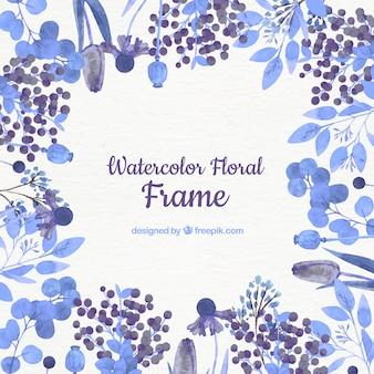 Cadre floral aquarelle avec des fleurs bleues