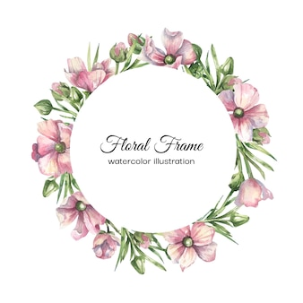 Cadre floral aquarelle avec fleurs délicates roses