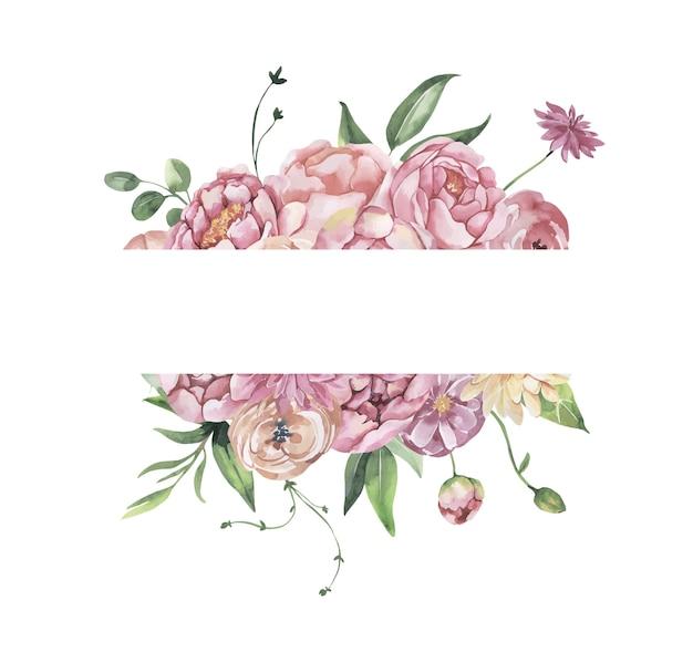Cadre floral aquarelle avec fleurs et feuilles.