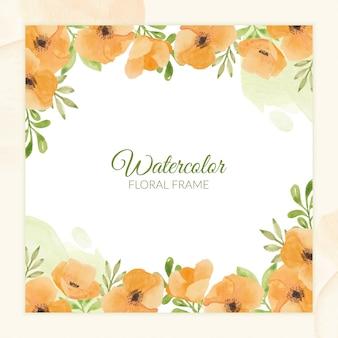 Cadre floral aquarelle peint à la main pour carte de voeux