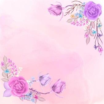 Cadre floral aquarelle rose avec fond splash