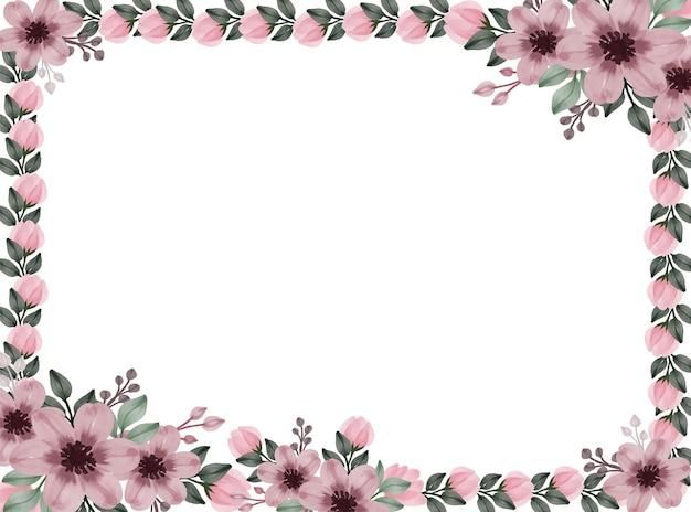 Cadre floral aquarelle de rose poussiéreux rose poussiéreux floral
