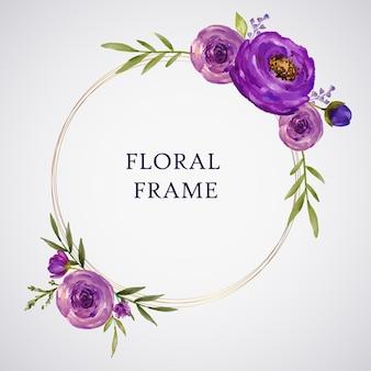 Cadre floral aquarelle rose violet