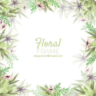 Cadre floral aquarelle avec style coloré