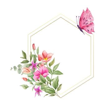 Cadre floral aquarelle de style élégant avec décoration botanique