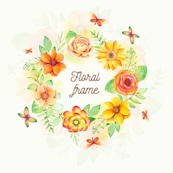 Cadre floral aquarelle