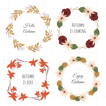 Cadre floral automne ensemble 4 en 1