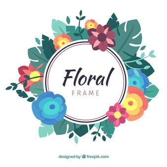Cadre floral avec différentes espèces