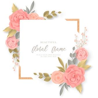 Cadre floral avec de belles fleurs