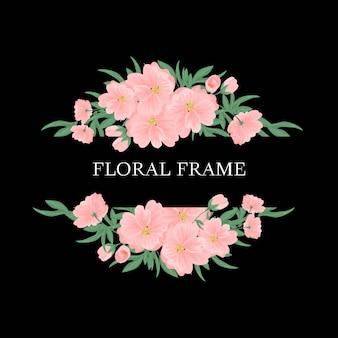 Cadre floral avec bouquet de fleurs roses et verdure