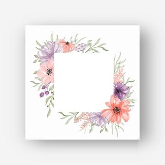 Cadre floral carré avec des fleurs à l'aquarelle