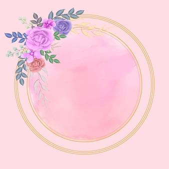 Cadre floral cercle aquarelle avec splash backgroun