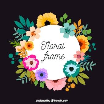 Cadre floral circulaire avec un design plat