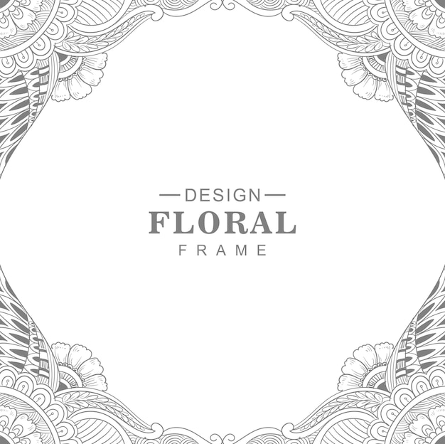Cadre floral circulaire mandala décoratif