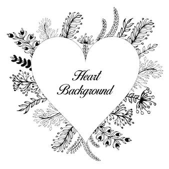 Cadre floral coeur noir et blanc