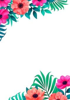 Cadre floral coin design tropical à la mode