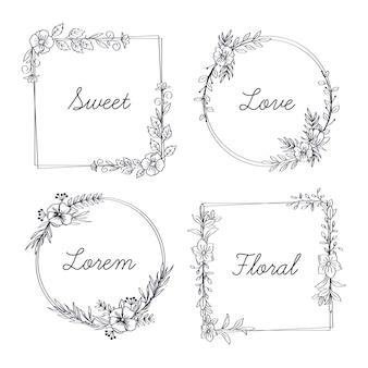 Cadre floral avec collection de mots