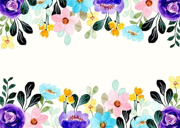 Cadre floral coloré avec aquarelle