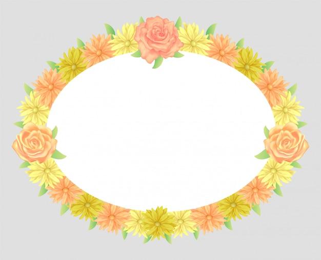Cadre floral coloré et belle décoration de modèle de fleurs et feuilles roses.