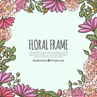 Cadre floral coloré dans un style dessiné à la main