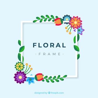 Cadre floral coloré dans un style plat
