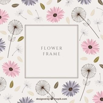 Cadre floral coloré avec un design plat