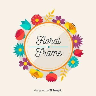 Cadre floral coloré avec design plat
