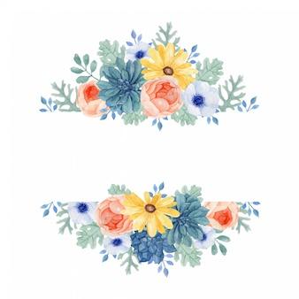 Cadre floral coloré avec des feuilles de dusry miller, succulentes.