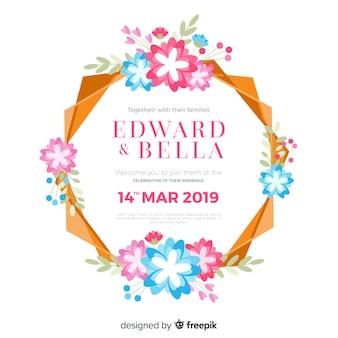 Cadre floral coloré d'une invitation de mariage
