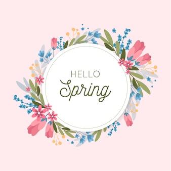 Cadre floral coloré de printemps plat