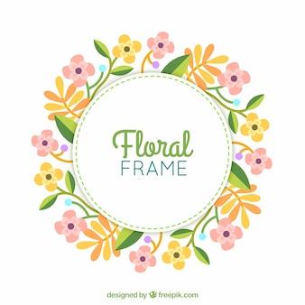 Cadre floral avec une couronne