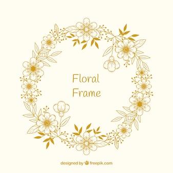 Cadre floral dans un style dessiné à la main