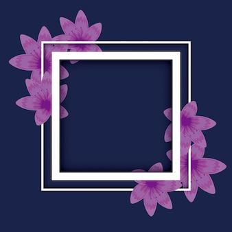 Cadre floral à décor carré